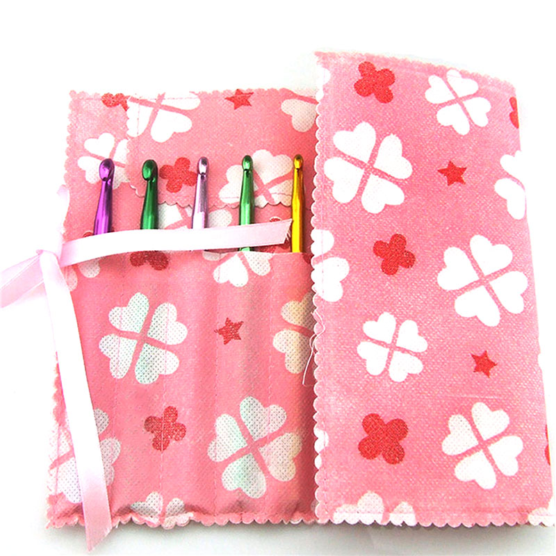 14 Slots Crochet Bag Craft Case Organizer Storage Baskets Pink Four-leaf Clover Traveling Sewing Tools Sewing Accessories