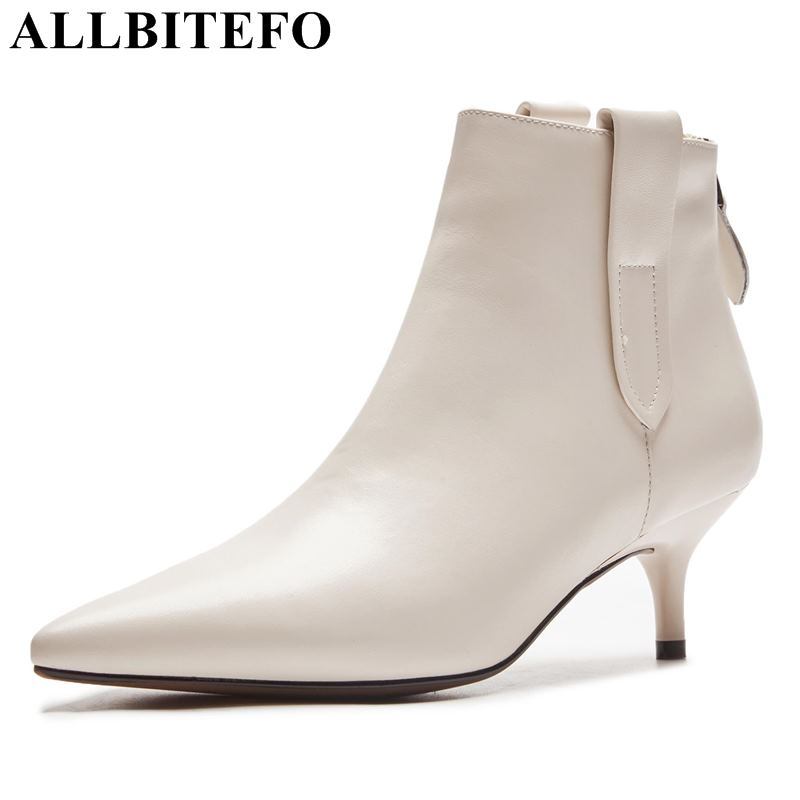 ALLBITEFO genuine leather pointed toe thin heel women boots fashion brand high heels ankle boots women winter warm girls bootsALLBITEFO genuine leather pointed toe thin heel women boots fashion brand high heels ankle boots women winter warm girls boots