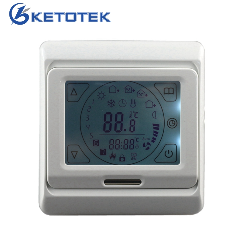 16A Touch Screen LCD Programmable Thermostat Temperature Controller Regulator Room LCD Floor Heating Thermostat with Backlight