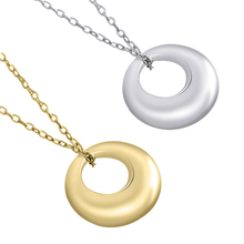 Real 925 Sterling Silver Simple Gold Small Circle Round Long Necklace Pendant For Women Men Minimalist Jewelry collares