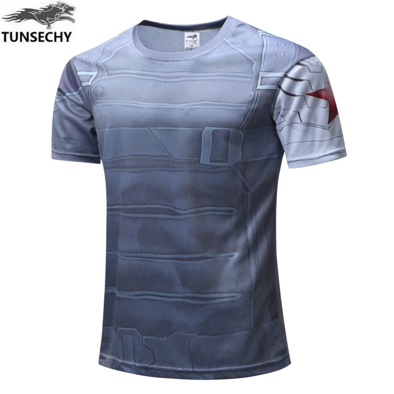TUNSECHY Free transportation High Quality Marvel Captain America costume Super Hero T-shirt Men clothing Short sleeves XS- 4XL
