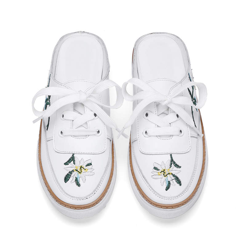 Cordones Mujeres Casuales Zapatillas Encaje De Plataforma Hasta Stylesowner Bordar Tacones Zapatos Blanco Genuino En Blancos Abierto Cuero Resbalón Hxqx1wIzp