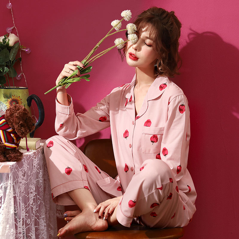 Women Clothes for Autumn winter Pajamas Sets O-Neck Sleepwear Lovely Rabbit Pijamas Mujer Long Sleeve Cotton Sexy Pyjamas Female 66