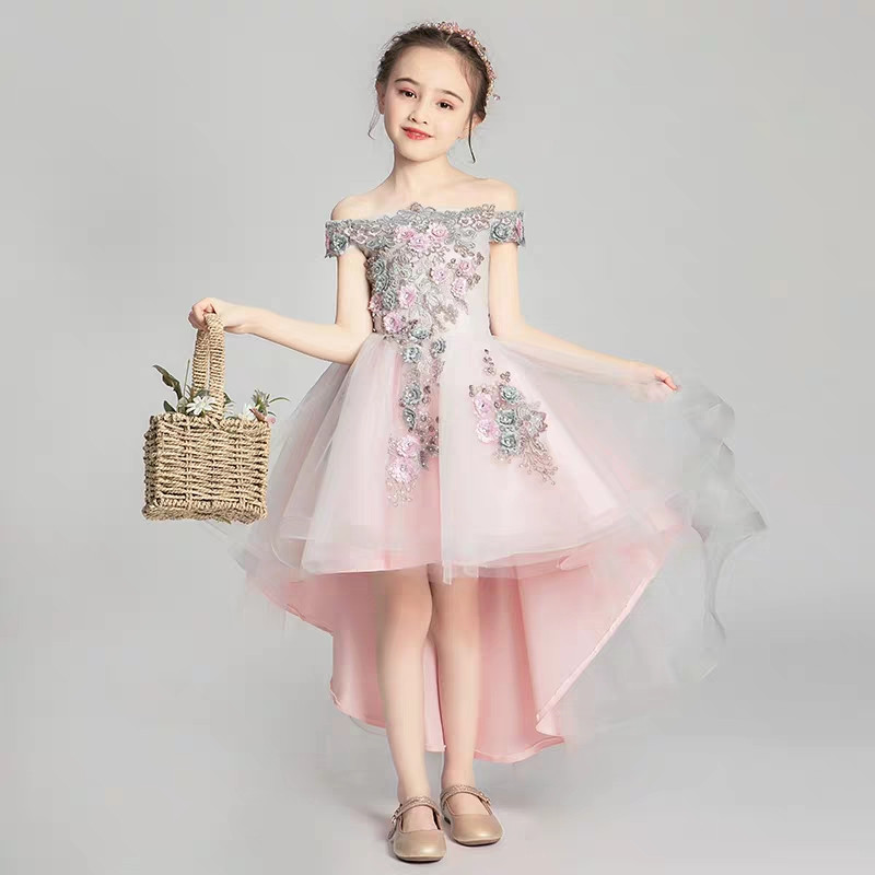 2019 Summer Elegant Little Kids Girls Appliques Flowers Front Short Back Long Tail Dress Children Baby