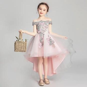 2019 Summer Elegant Little Kids Girls Appliques Flowers Front Short Back Long Tail Dress Children Baby Birthday Evening Dresses