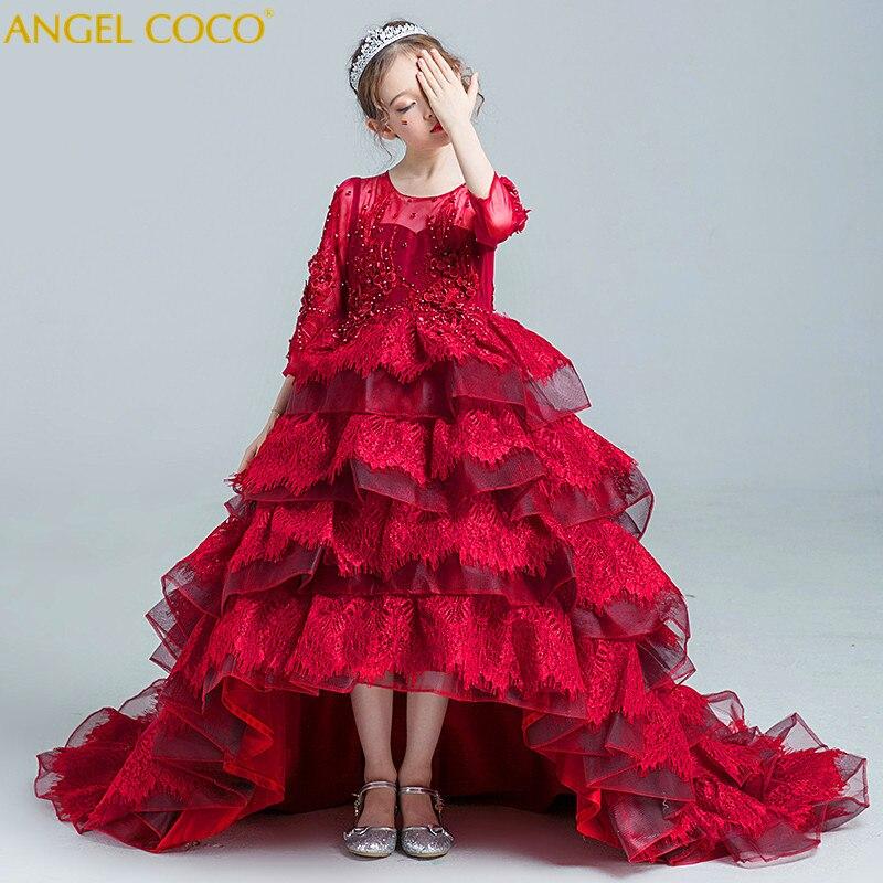 Нарядные платья для девочек элегантные 2018 Лето с длинным рукавом Цветочный большой хвост платье принцессы для девочек детские Свадебные пл
