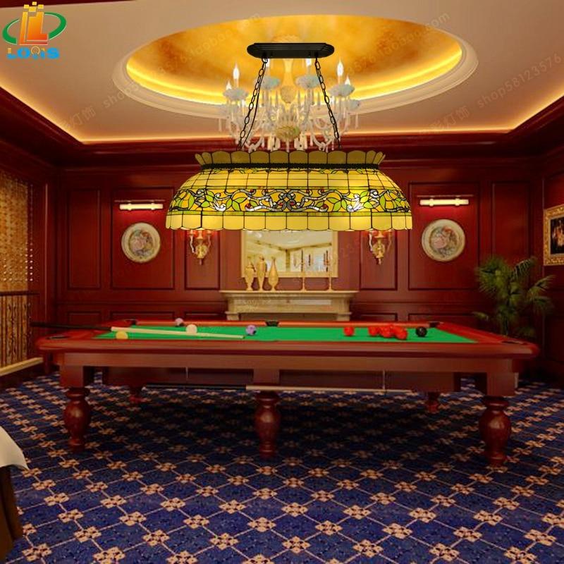 European Style Retro Glass Rattan Man Large Chandelier Tiffany - Retro pool table