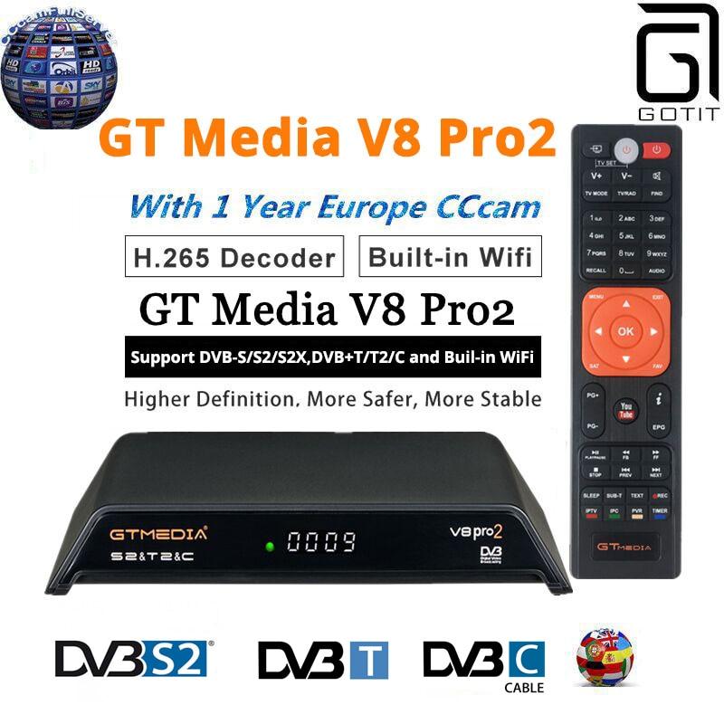 GT Media V8 Pro2 DVB S2 T2 C Satellite Receiver V8 Golden New Version H 265