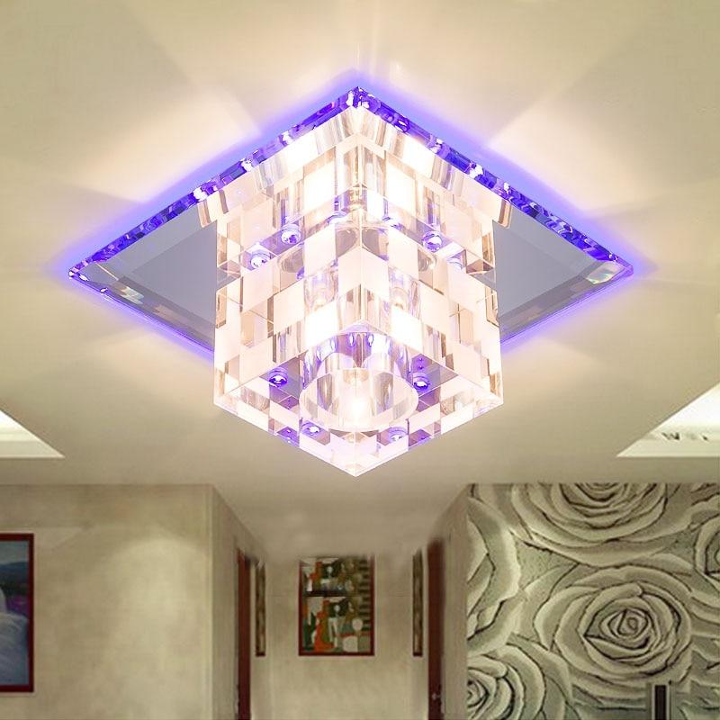 ФОТО Colour Square Aisle Crystal Light Indoor Foyer Crystal LED Ceiling Lamp Lamparas de techo 5W LED Hallway Lustre Lightings