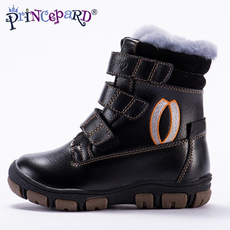 Princepard 2018 hiver taille haute bottes orthopédiques pour enfants 100% fourrure naturelle en cuir véritable chaussures garçons filles 22-36