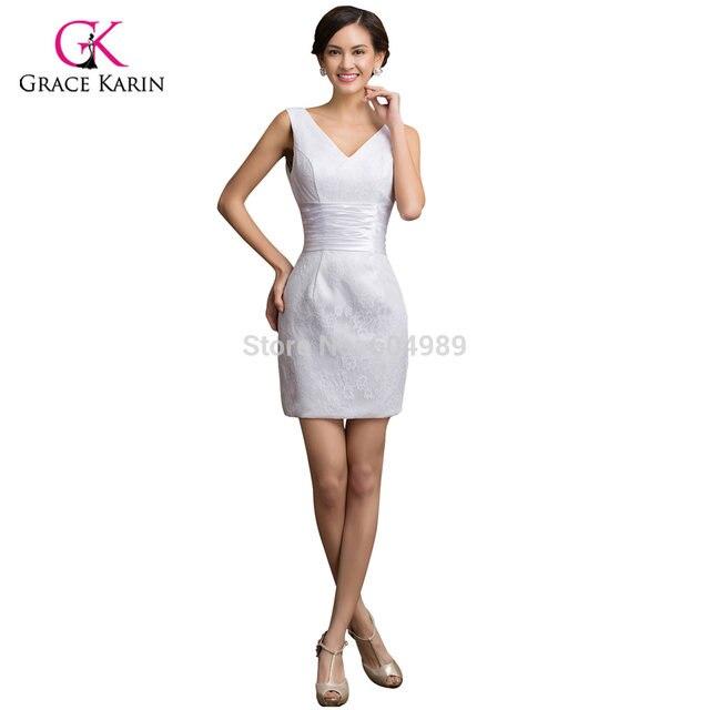 Online Shop Sexy Grace Karin Taffeta White Lace Short Cocktail Dress