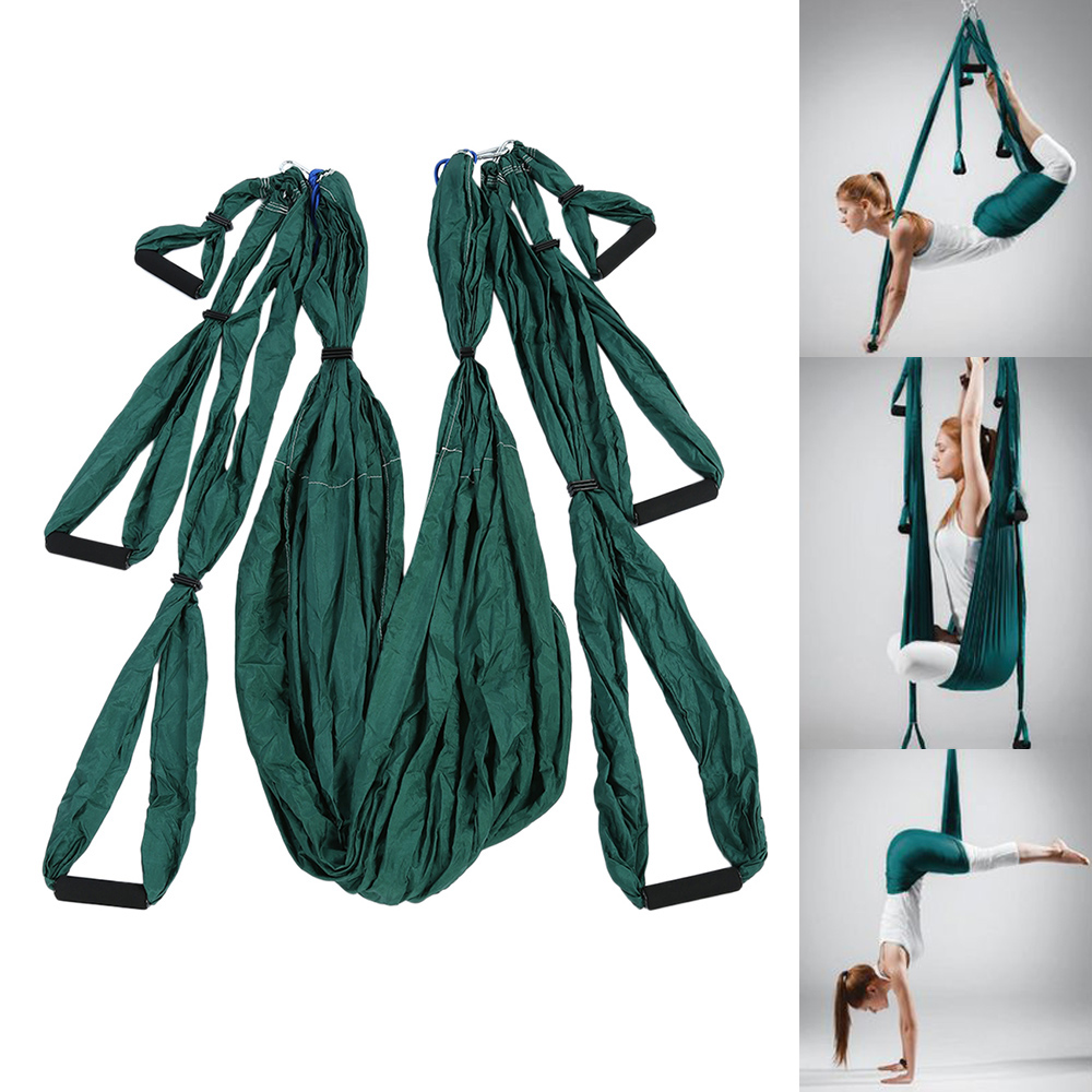 High Strength Decompression Hammock Inversion Trapeze Anti-Gravity Aerial Traction Yoga Gym Swing Hanging Yoga Swing Set 2 Color 2 5m 1 5m bearing 500kg elastic exercise yoga hammock aerial swing anti gravity yoga belt inversion trapeze hanging gym traction