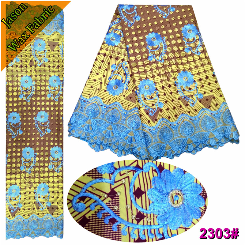 Golden Ankara Wax Lace Embroidery 6Yards Fabric Nigerian polyester Guipure Cord Lace Fabric African Wax Guipure For wedding LBL