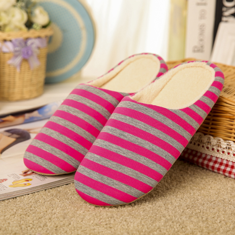 Striped Soft Bottom Home Slippers Cotton winter Warm Shoes Women Indoor Floor Slippers Non-slips Shoes For Bedroom House TX003W home slippers soft plush cotton cute slippers shoes non slip floor indoor house home fur slippers women shoes for bedroom