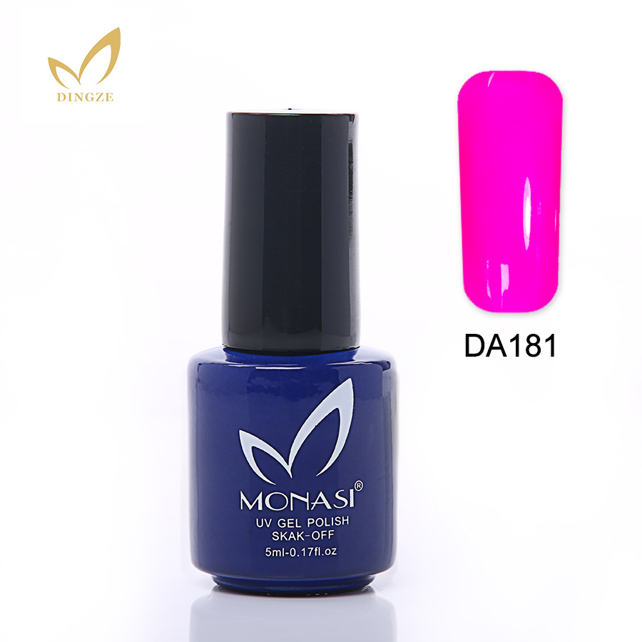MONASI 16 Color Glaze Soak Off UV LED Gel Polish For Nail Art Fashion Design Semi Permanent 5ML Long Lasting Lacquer in Nail Gel from Beauty Health
