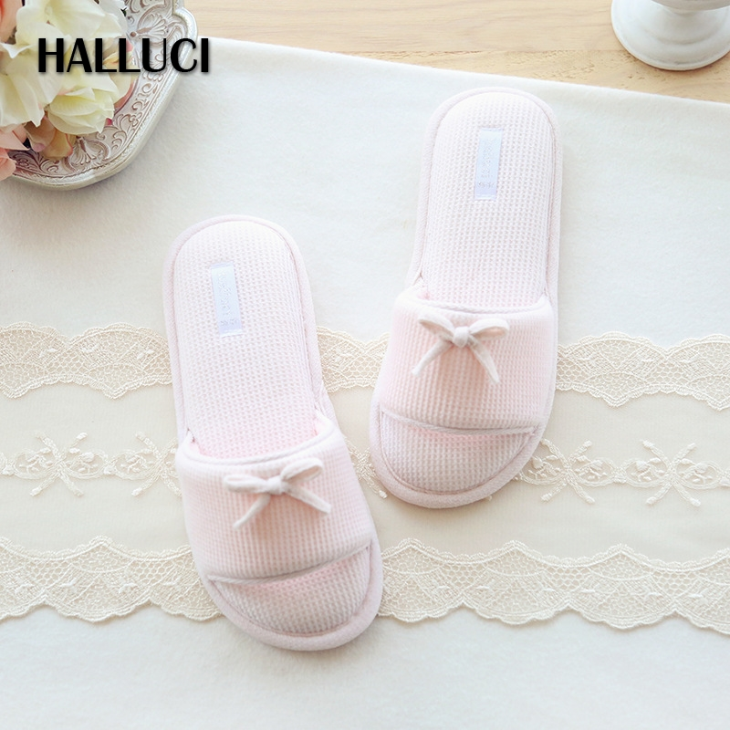 HALLUCI Summer pink sweet women home slippers shoes simple house flip flops delicate indoor slippers flat shoes ladies slides