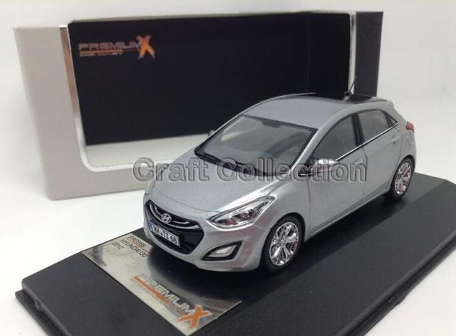 Gris 1:43 Hyundai i30 Diecast Hatch Back Premium X modelo de construcción de vehículos juguetes clásicos del arte miniatura