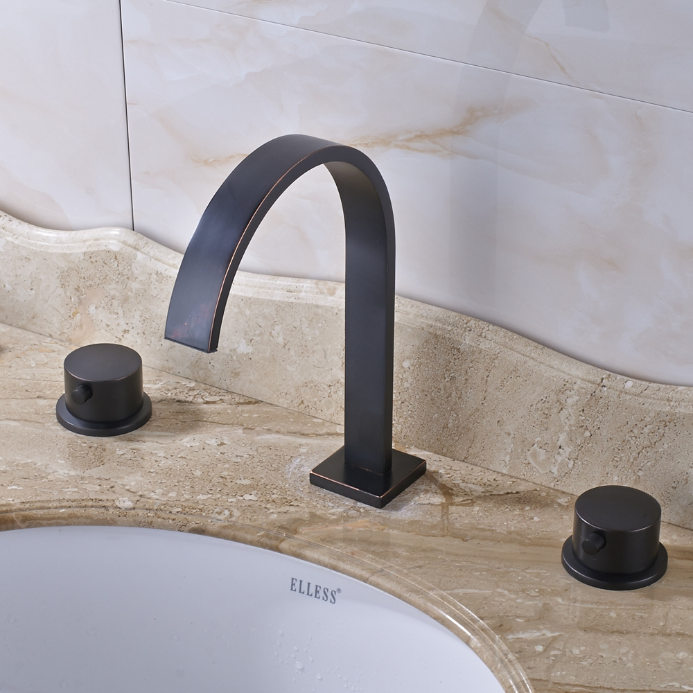 Widespread Dual Handles Three Holes Bathroom Sink Faucet Mixer Tap Oil Rubbed Bronze Finish стоимость