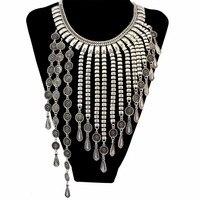 Yüksek Kalite Bohem Stili Gümüş Moda Choker Kolye Oyma Paraları Asimetrik Uzun Püsküller Kadınlar Için Uzun Kolyeler Takı