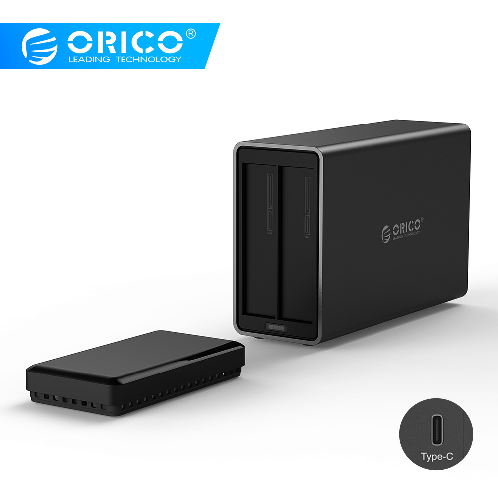 ORICO NS200C3 2 Bay Type-C Hard Drive Dock Support 20TB Storage USB3.1 5Gbps UASP With 12V4A Adapter Tool Free HDD Enclosure