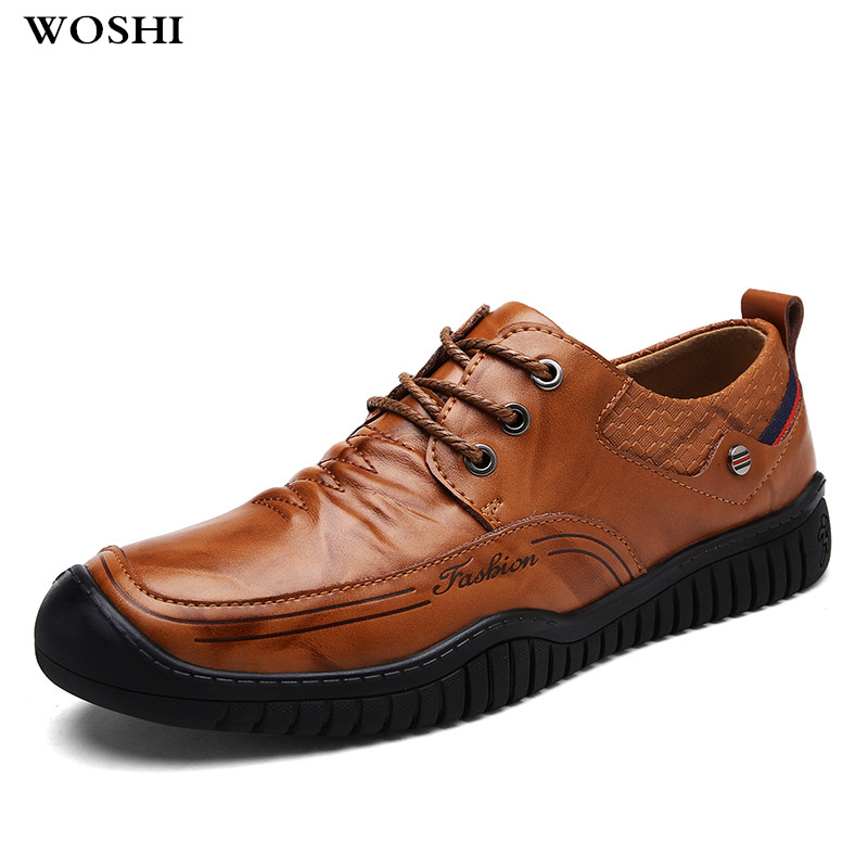 WOSHI Men Loafers genuine leather Men Shoes Fashion Casual Male Shoes Lace up fashion Men Shoes Designer outdoor Flat Shoes k5 генератор lifan 2gf 4 бензиновый 220в 2 2 2квт 6 5лс