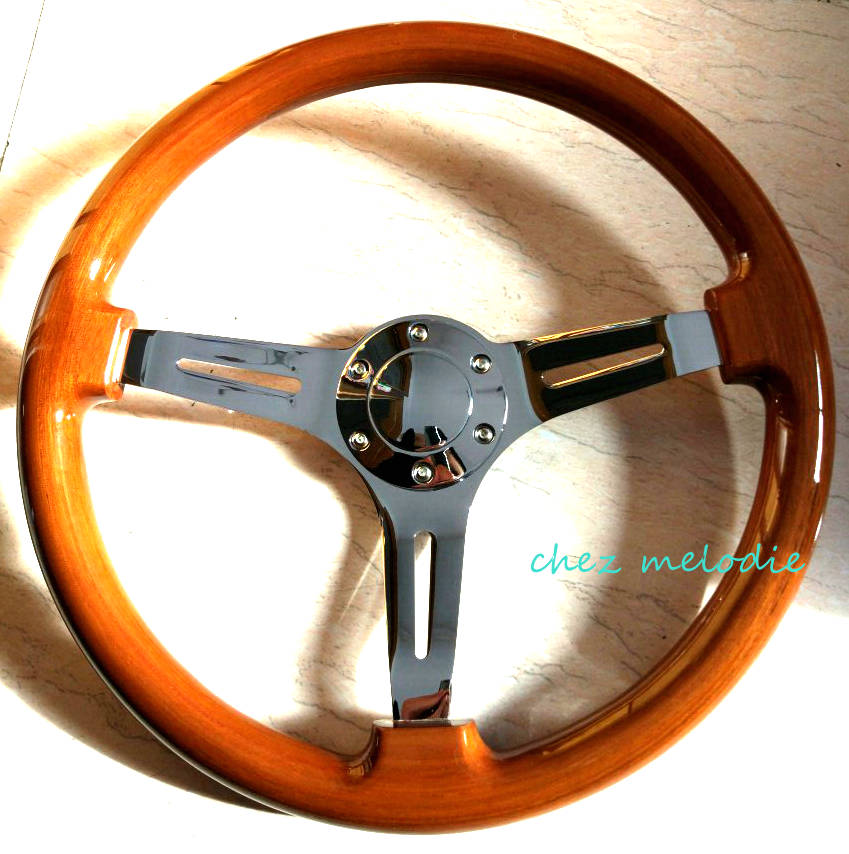 Universal 15inch 38cm vintage classic wood wooden auto car steering wheel with horn button handmade high