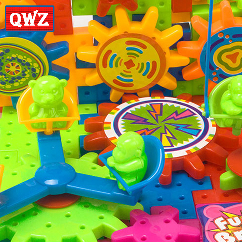 QWZ 81Pcs Plastic Electric Gears 3D Building Blocks Kits DIY Bricks Educational Toys For Kids Children Christmas Gifts 2