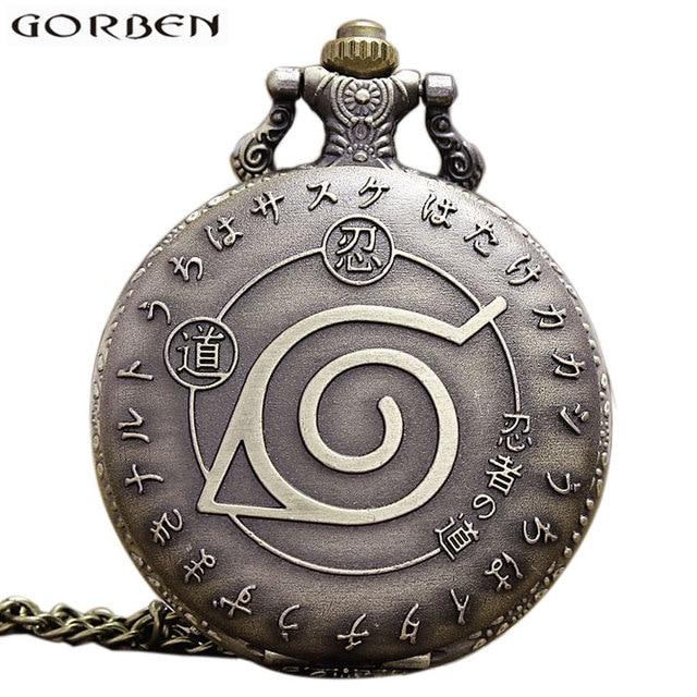 Vintage Anime Naruto Ninja Theme Pocket Watch Necklace Bronze Quartz Fob Clock W