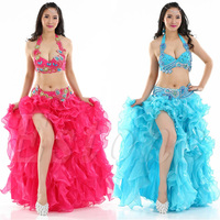Professional Belly Dance Costume Sexy Slit Skirt Waves Skirt Dress Dance Wear