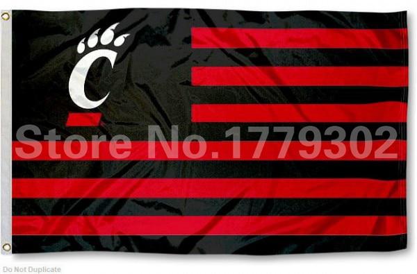 University of Cincinnati Flag 3 ' X 5 ' Fan bandera 150 X 90 CM bandera de cobre amarillo del metal agujeros NCAA Flag