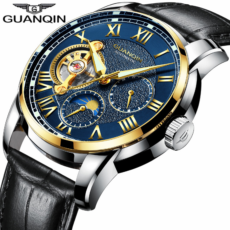 цена на saat New GUANQIN Mens Watches Top Brand Luxury reloj hombre Sport Leather Strap Waterproof Automatic Mechanical Watch Men relogi