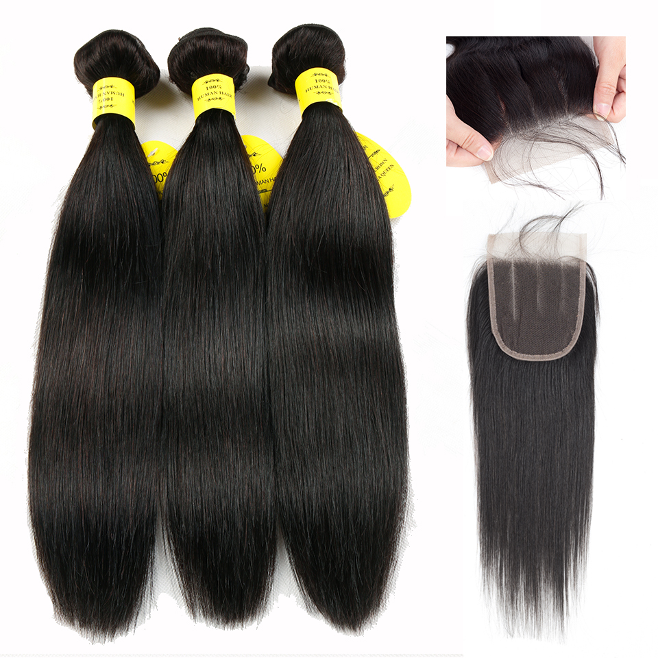 Queen like Products Human Hair Weave Bundles With Closure Non Remy Weft 3/4 Bundles Brazilian Straight Hair Bundles With Closure