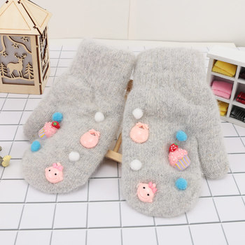 Winter Fashion Warm Cartoon Pattern Faux Rabbit Fur Girls Cotton Mittens Soft Comfortable Sweet Warm Mittens