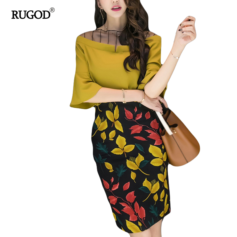 RUGOD Summer Skirt Women 2 Piece Set Dress Elegant V-neck Flare Sleeve Crop Tops+High Split A Line Skirt Slim Women Beach Dress