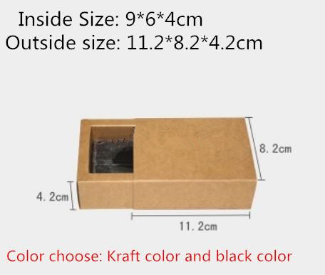 20pcs/lot-9*6*4cm Small Size Black Kraft Paper Drawer Box Handmade Soap Craft Jewel Macaron Packaging Party Gift Boxes