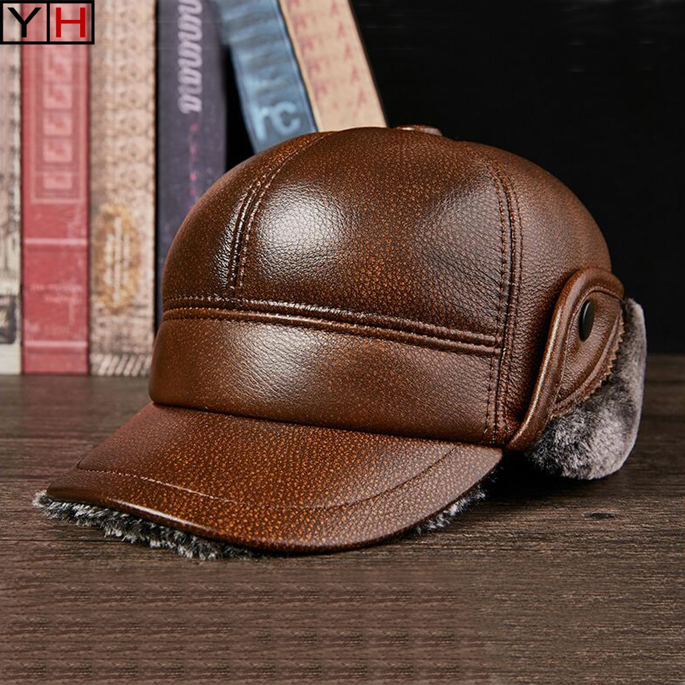 Hat Flip-Hat Leifeng-Caps Sheepskin Winter Genuine-Leather Warm Fashion Casual