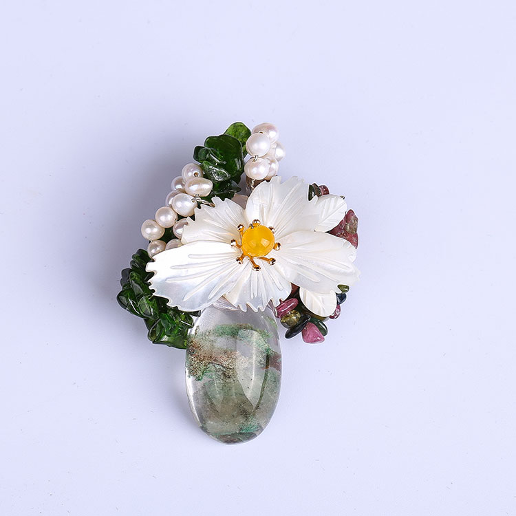 Original handmade natural shell freshwater pearl high - end fashion mens lapel flower pin brooch corsage pin pendant dual - use star lapel pin