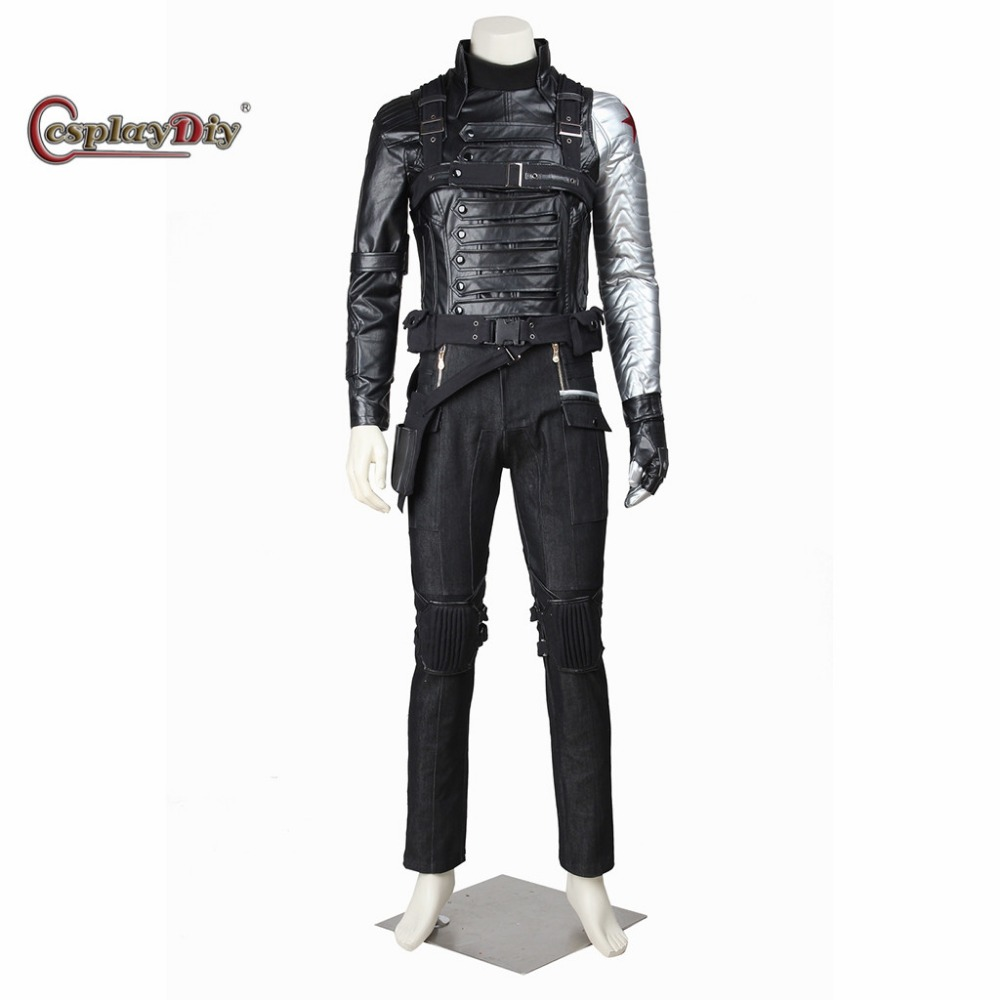 Captain America 2:The Winter Soldier Bucky Barnes Cosplay Costume Adult Men's Halloween Outfit Clothing Custom Made D0323