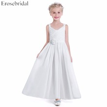Cute White Chiffon 2019 Flower Girl Dresses Erosebridal A Line Wedding Girls Dress Fancy Pleat Bodice Floor Length VRI-659
