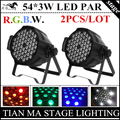 2pcs / LOT 54 X 3W RGBW LED Par Light, PAR LED, DMX512 controller led PAR lamp /background stain light