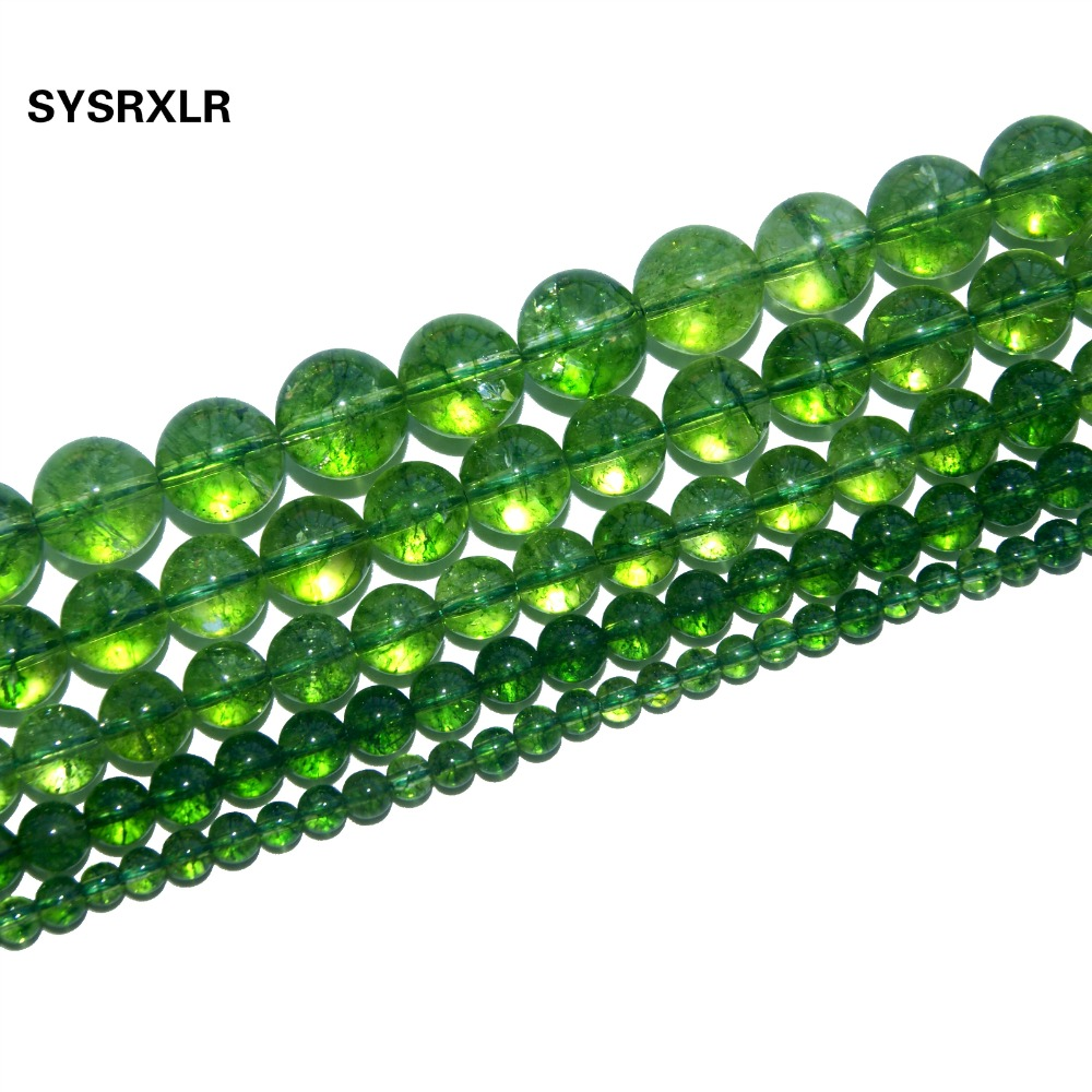 4bdcdf13d Free Shipping Natural Stone Crystal Green Peridot Loose Beads For Jewelry  Making Fit Charm Diy Bracelet Necklace 4/6/8/10/12 MM