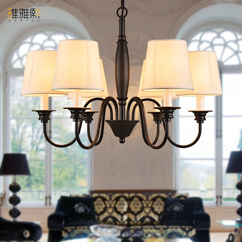 led lamp Creative lights Fabric lampshade painting chandelier iron vintage chandeliers american style indoor lighting fixture