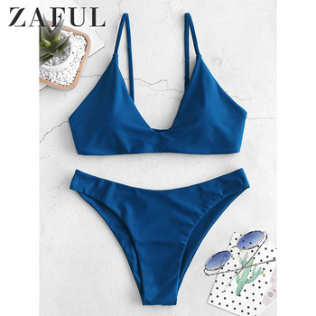 ZAFUL Sport Bow Tie Front Scoop Back Bikini Set Green Push Up Plain Swimwear With Chest Pad 2018 Summer Women Sexy