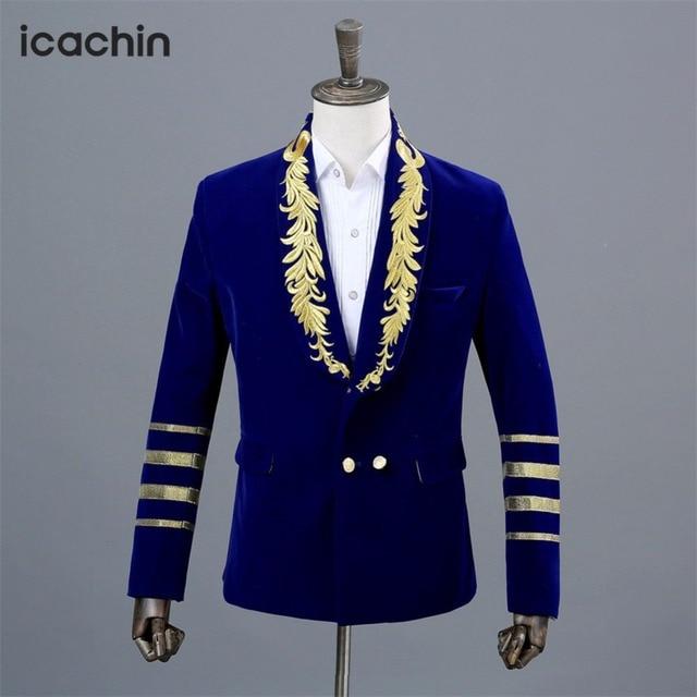 192e9ad428 Azul Dos Homens de Veludo Blazer Masculino Figurinos Para Os Cantores  Bordado Borgonha Casaco De Hombre