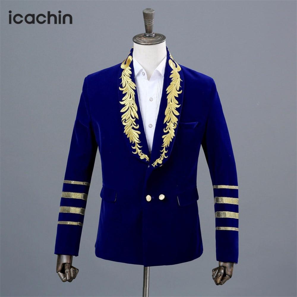 Blue Velvet Mens Blazer Masculino Stage Costumes For Singers Embroidery font b Jacket b font Burgundy