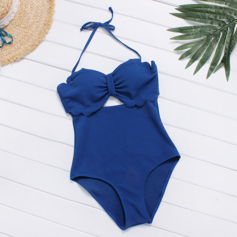 New Arrival One Piece Swimsuit Women High Waist Swimwear Sexy Halter Design High Quanlity Fabric Solid