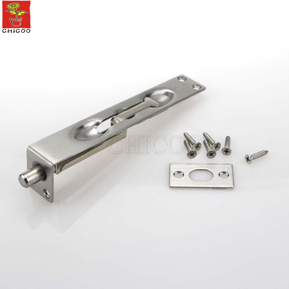 L Type 6 Inch Flush Door Bolt Lever Action Slide Lock Concealed