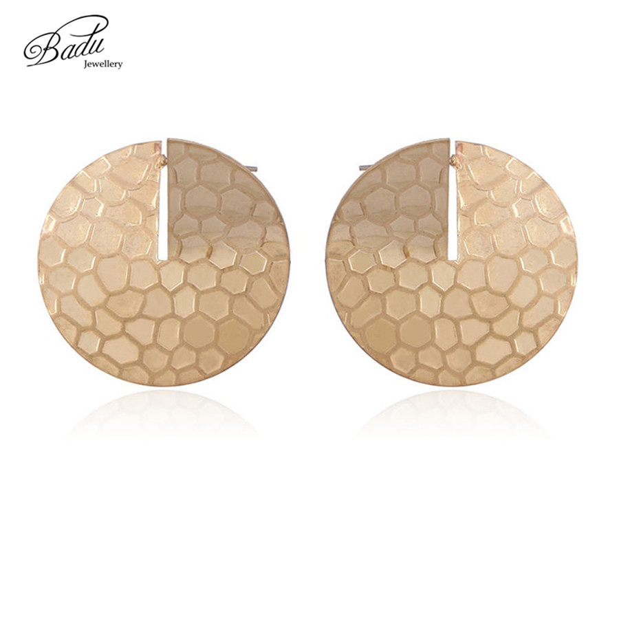 Badu Round Gold Stud Earring Women Vintage Big Studs Golden Honeycomb Earrings Geometric Metal Jewelry Wholesale