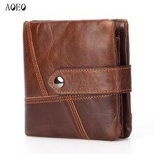 цена на AOEO Slim Wallet Genuine Leather For Men Gift Clutch Zipper Oil Wax Cowhide Man Purses Vintage Short Money Bag Mens Wallets