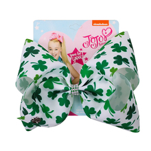 8 inch St. Patrick's Day Jojo Bows for Girls Jojo Siwa Large Hair Bows for Girl Kid with Clips Bowknot Handmade Hair Accessories